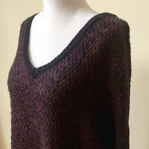 Metaphor V-Neck Purple Black Faux Layered Sweater